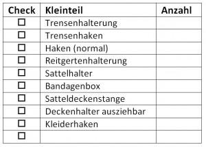 Kleinteile für Sattelschränke Checkliste